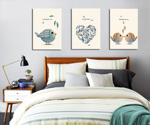 3 Piece Canvas Wall Art Nordic Cartoon Birds Posters Prints Spray Painting Pictures Couple Room Decor No Frame(China)