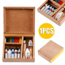 1:12 Miniature Artist Paint Pen Wooden Box For Dollhouse  Furniture Accessory Hot Sale New