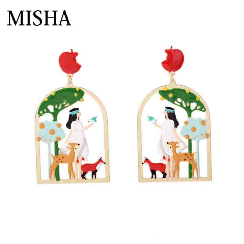 цена MISHA Fine Snow White and Sika Deer fashion Enamel glaze jewels party Pendant Large Earrings Dangle Fine Jewelry For Gift 756
