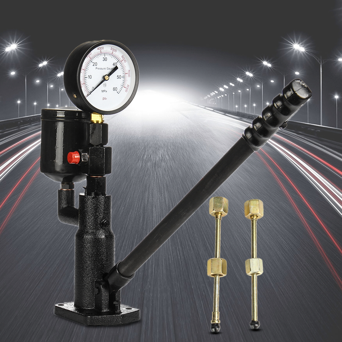 Dual Scale Read Gauge Bar/PSI 0-60Mpa 1L Pop Diesel/Injector Nozzle Pressure Tester Steel Black High Pressure Pipe Diagnostic цены
