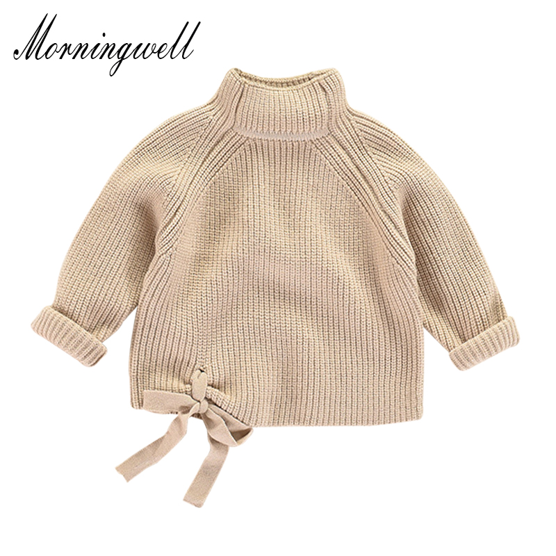 Morningwell fashion pullover girls sweater winter baby bow thick turtleneck sweater casual knit kids cardigan christmas sweater twist back crop chunky knit sweater