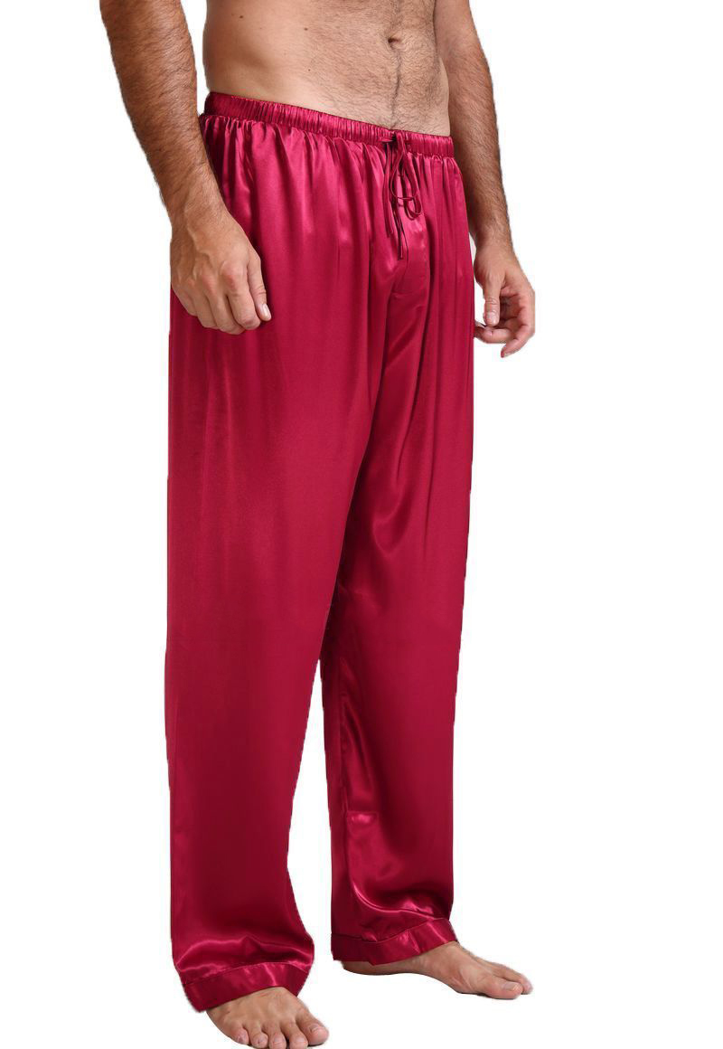 Mens Silk Satin Pajamas Pyjamas Pants Lounge Pants Sleep Bottoms  S~4XL Plus Size