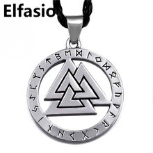 Valknut Odin 's Symbol of Norse Viking Warriors Amulet Mens Boys Silver Pewter Pendant with Necklace Fashion Jewelry LP326(China (Mainland))