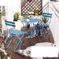 Балконный стол и обивка на стулья три железный стол мебель складные уличные столы и стулья Кофейня Досуг столы и стулья