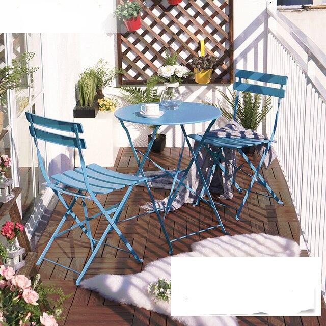 Balkon Tisch Und Stuhl Setzt Drei Eisen Tisch Mobel Falten Im Freien