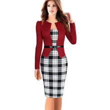 Women Elegant Belted Tartan Lace Patchwork Tunic Wear to Work Business Casual Pencil Wiggle Sheath Dress Vestidos