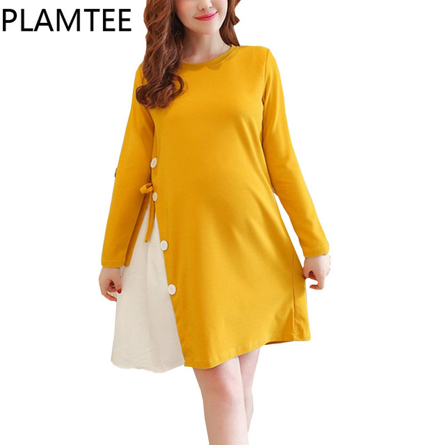Plamtee New Adjule Maternity Dresses Patchwork Contrast Color Pregnancy Clothes Thick Long Sleeves Dress For Pregnant