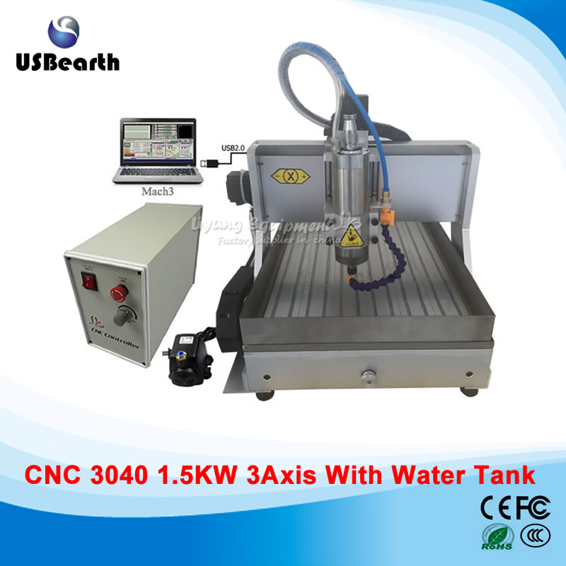 Free ship USB Desktop cnc machine 3040 mach3 control PCB milling machine drilling router with water tank 3040zq usb 3axis cnc router machine with mach3 remote control engraving drilling and milling machine free tax to russia