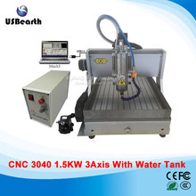 Free ship USB Desktop cnc machine 3040 mach3 control PCB milling machine drilling router with water tank