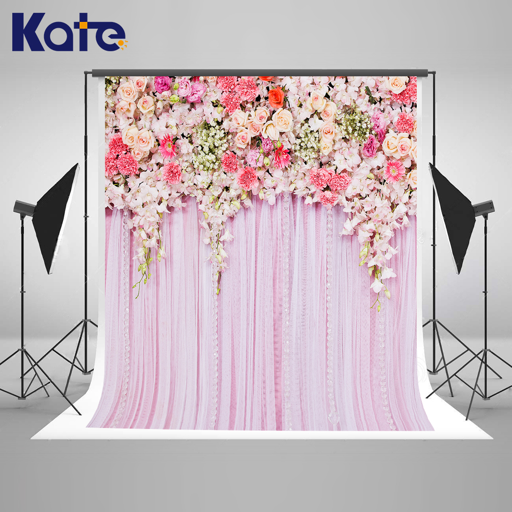 KATE Wedding Backdrops Photo Background Flower Wedding Backdrop Flower Pink Curtain Romantic Backgrounds Pastel Pink Background