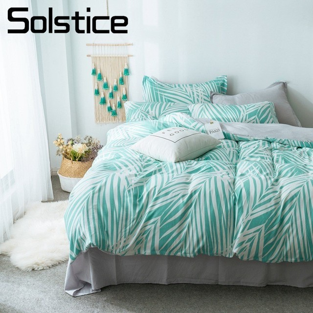 Solstice Home Textile Bedding Set King Queen Twin Full Duvet Cover Pillowcase Flat Bed Sheet Green Leaf Brief Gray Bed Linen Kit