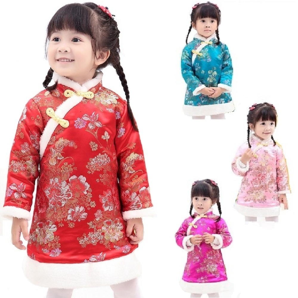 Chinese Spring Festival Baby Girls Dress Coat Thick Quilted Winter Girl Clothes Chi-pao Dresses Children Cheongsam Qipao Jackets 2017 autumn chinese style girl dress cotton short sleeve chinese cheongsam for kids baby girls qipao girls clothes