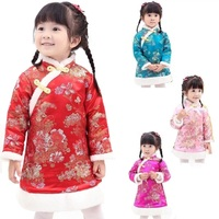 Chinese Spring Festival Baby Girls Dress Coat Thick Quilted Winter Girl Clothes Chi pao Dresses Children Cheongsam Qipao Jackets