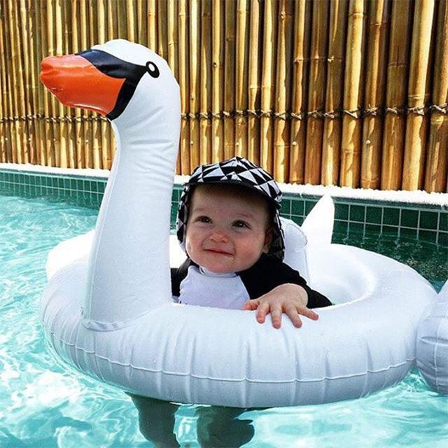 Baby Toddler Kids Children Inflatable PVC White Swan Swimming Ring Float Fun Toy