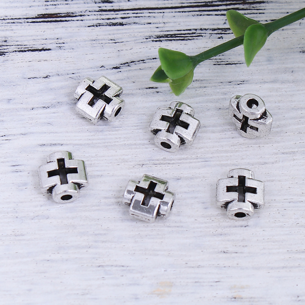 DoreenBeads Zinc Based Alloy Antique Silver Spacer Beads Cross DIY Components 8mm x 8mm( 3/8), Hole: Approx 1.6mm, 100 PCs