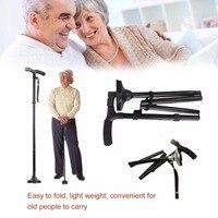 LED Light Folding Old Man Safety Walking Stick 4 Head Pivoting Trusty Base For T Handlebar