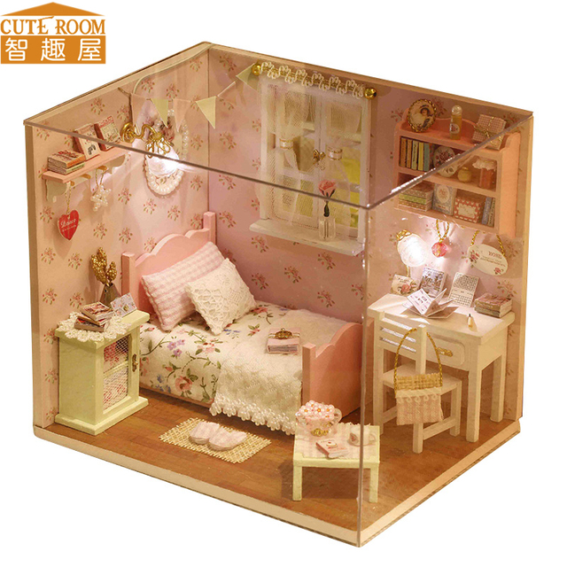 Perfect CUTE ROOM DIY Doll House Miniature Wooden Dollhouse Miniaturas Furniture  Toy House Doll Toys For Christmas