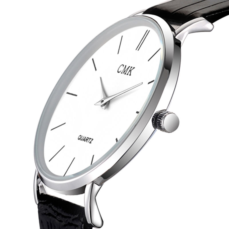 Fashion Brand Men Watches Super Thin Simple Face Design Qaurtz-watch With Black Leather Band Ultraslim Mens Wrist watch Clock super nautual hairline toupee for men with thin skin base men s hair replacement system