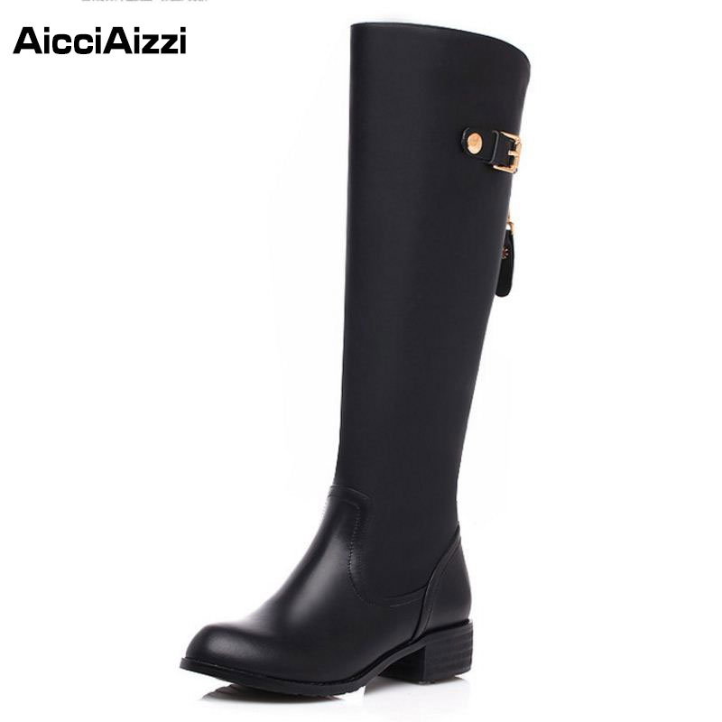 Women Real Genuine Leather Round Toe Knee Boots Woman Classical Low Heel Knight Boot Female Zipper Flat Shoes Size 33-46 2017 new arrival winter plush genuine leather basic women boots knight zipper round toe low heel knee high boots zy170904