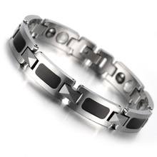 Tungsten Magnetic Mens Ladies Bracelet, Bangle, Black Silver Health Care Jewelry KB905