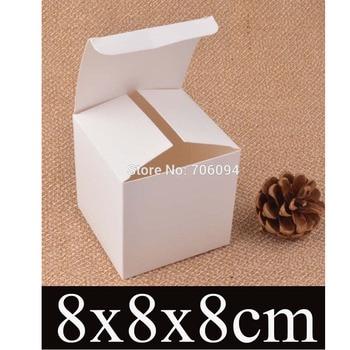 8*8*8cm Cosmetic/Jewerly white paper box 3.1''*3.1''*3.1'' handmade gift boxes,Essential oil box,custom box logo 100pcs/lot