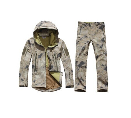Gear Tactical Soft Shell Military Camouflage Hunting Clothes Set Men Waterproof Sport Outdoor Coat Army Jacket Set+ Pants