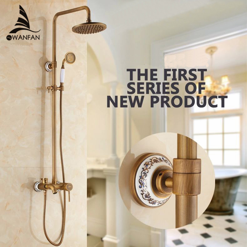 Shower Faucets Antique Finish Bathroom Faucet Brass Bath Rainfall With Spray Shower Head Europe Faucet Bath Shower Set ST-9134 atomizing and rainfall water function bathroom products 20 inch bath shower head thermostat bath bathroom shower faucet set