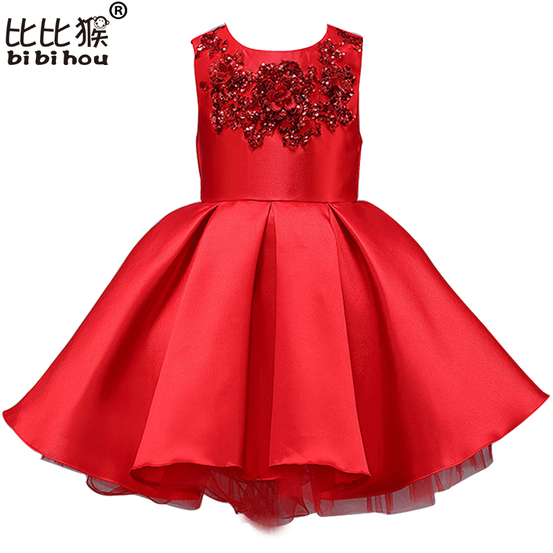 Girls Dress Baby Girl princess Dress Child Red & Purple Embroidery Flower Tutu Dress Kids Pageant Party Dresses Girls clothes girls europe and the united states children s wear red princess dress child dress kids clothing bow flowers red purple