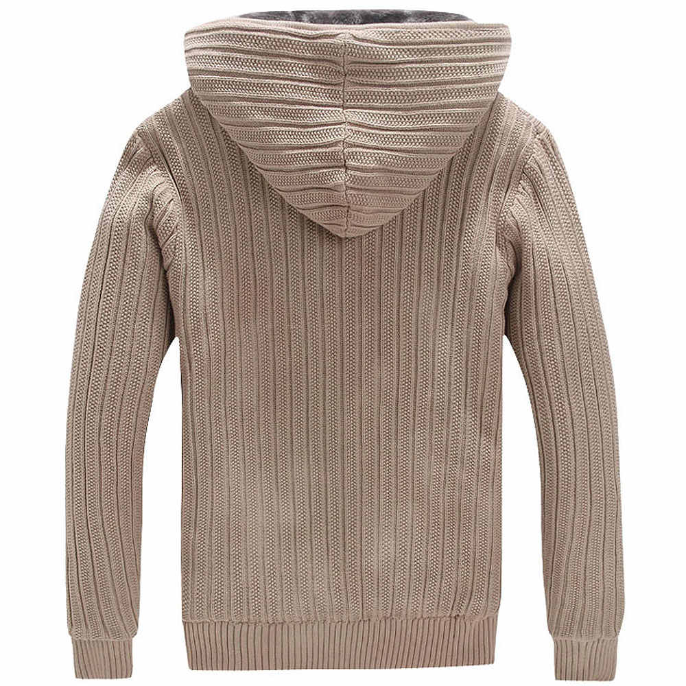Mens Winter Cardigan Sweater Faux Fur Lined Thicken Hoodie Knitted Jackets Coats