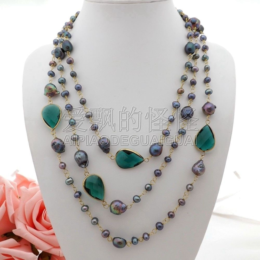 N052501 74 Noir Perle Vert Cristal Collier