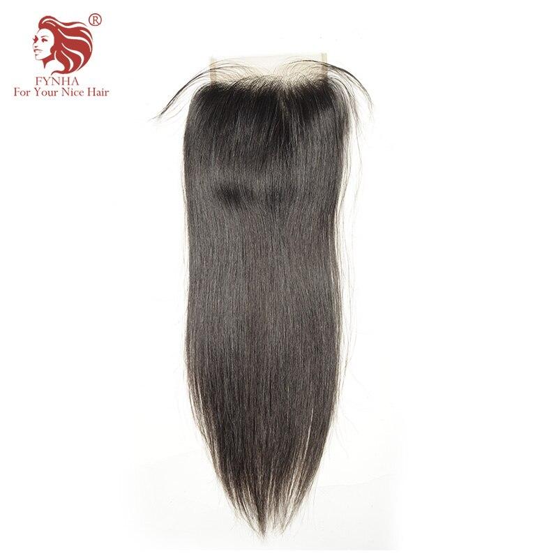 [FYNHA] бразильский виргинский волос Кружева Закрытие прямо 100% человеческих волос Бесплатная Часть 4 ''x 4'' бесплатная доставка