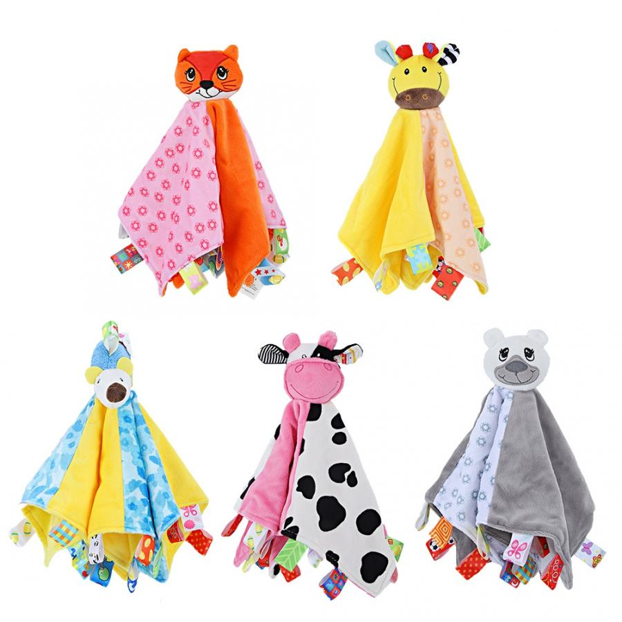 Baby Appease Towel Cute Animal-shaped Toddler Baby Safety Towel Blanket Infant Appease Towel Soft Plush Comforting Toy