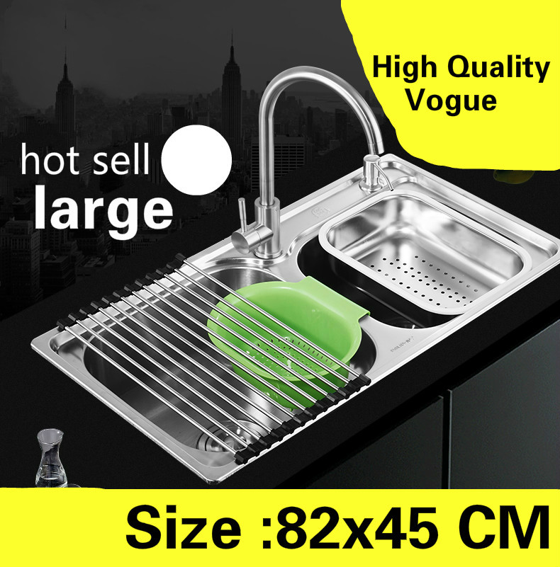 Free Shipping Apartment Wash Vegetables Large Kitchen Double Groove Sink 304 Stainless Steel Luxurious Hot Sell 820x450 MM