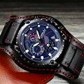 Relogio Masculino CRRJU спортивные часы с хронографом мужские военные водонепроницаемые черные кожаные Аналоговые кварцевые наручные часы для мужчи...