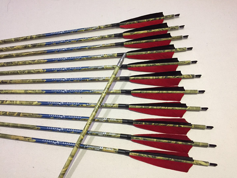 12pcs Archery carbon arrow spine300 340 400 ID6 2mm 5 turkey feather arrow nock 125 150gr
