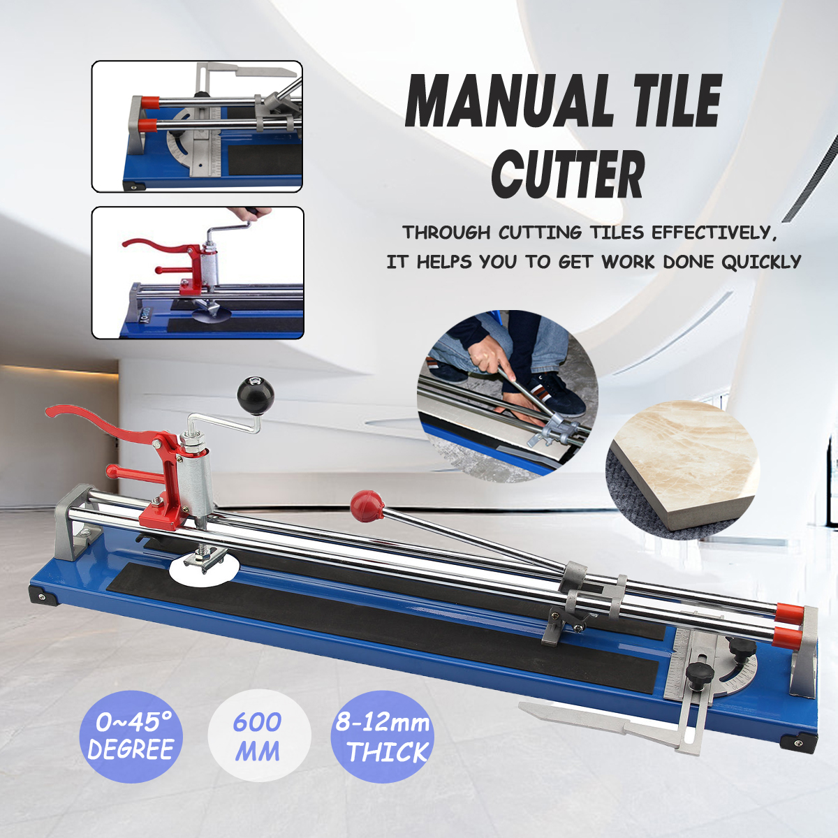 Doersupp 600mm Heavy Duty Ceramic Floor Wall Tile Hand Cutter Cutting Shaper Machine Tool Portable Cutting Machine