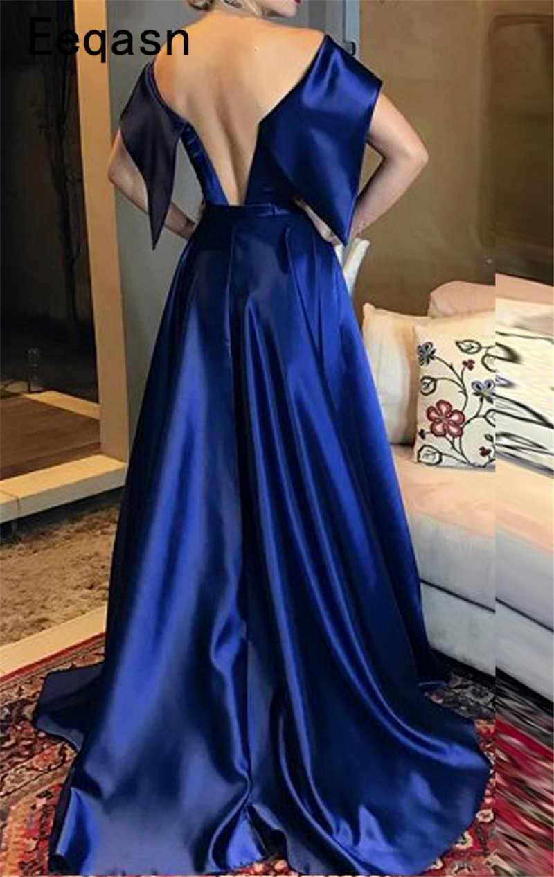 f58b1abdb26 ... Элегантный Королевский Синий Вечерние платья Длинные 2018 атлас с  открытыми плечами Саудовская Арабский Формальное вечернее платье ...