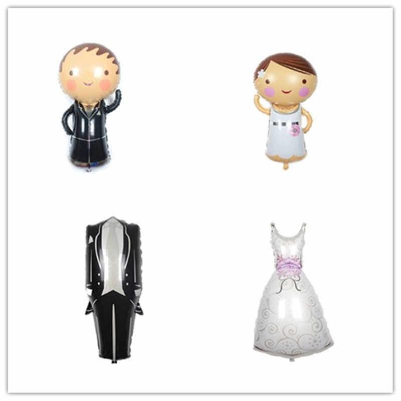 1 шт. Жених невесты алюминиевый воздушный шар Жених Невеста свадебное платье фольги воздушный шар Свадебные Надувные шары для романтической свадьбы