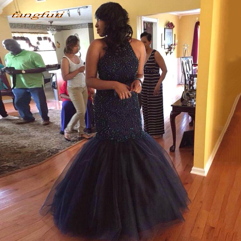 Luxury Navy Blue   Evening     Dresses   Pearls Mermaid Sexy Backless Formal   Evening   Prom Gown Party   Dress   Arabic abendkleider On Sale