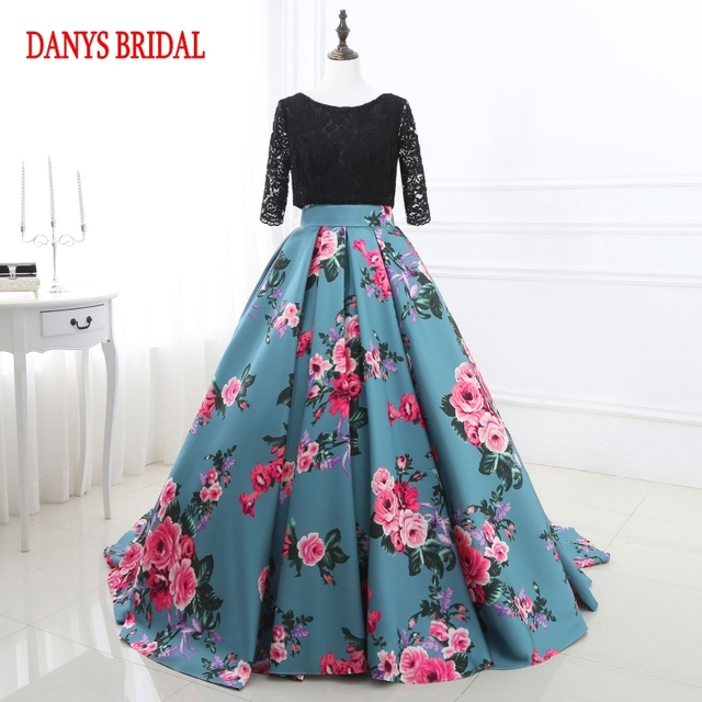 Floral Long Sleeve Lace Evening Dresses Party Beautiful Women Prom ...