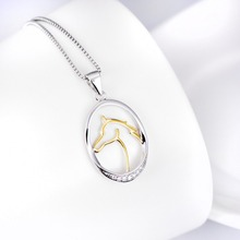 925 Sterling Silver Jewelry Gold Horse Unicorn Amulet AAA Zircon Necklaces Pendants Fashion Fine Necklace Men Women Gift SN037