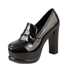 цены Ladies Pumps PU Leather Super High Heels Slip On Women Pump Square Heel Women Shoes Round Toe Pumps Spring Autumn Footwear