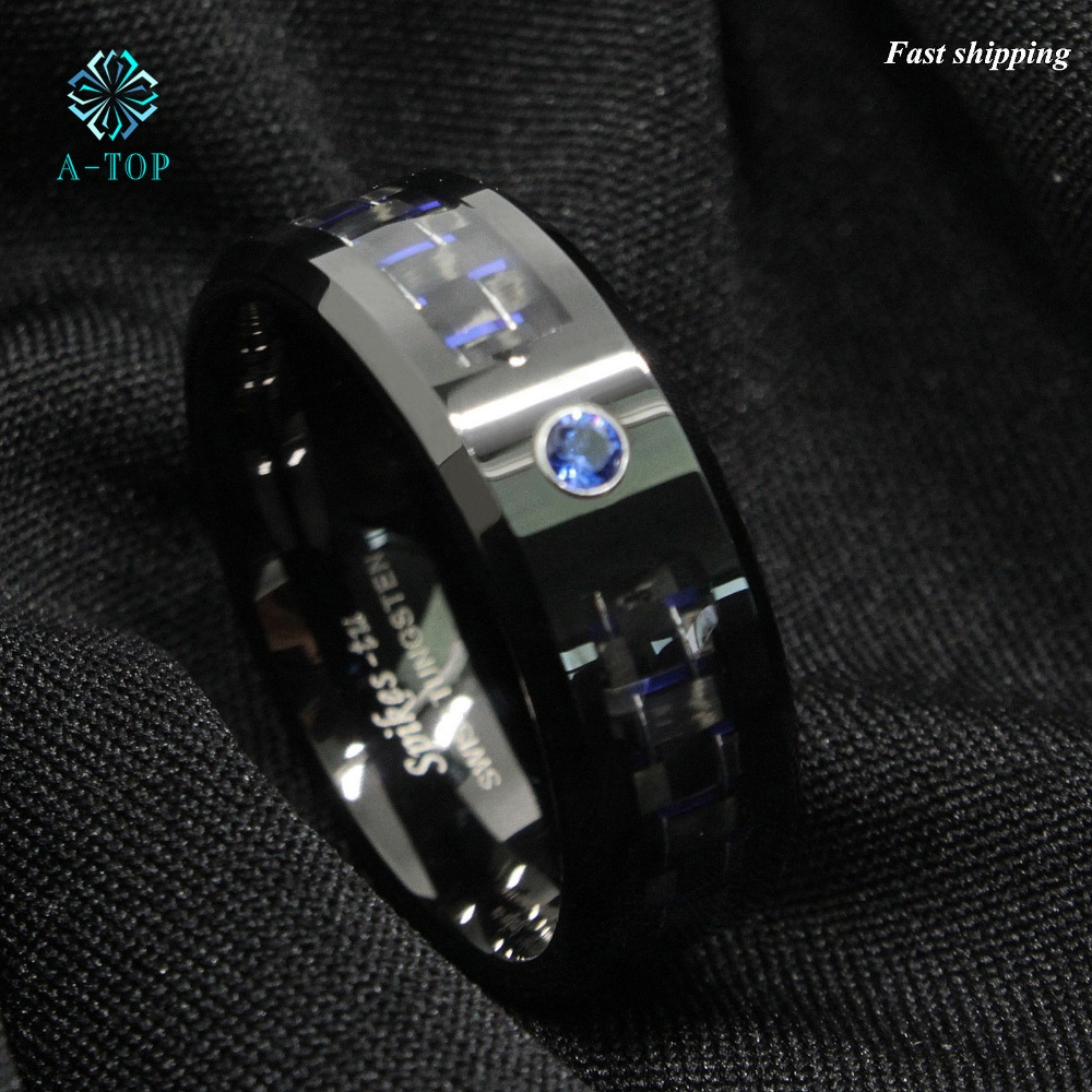 Black And Blue Carbon Fiber Tungsten Ring Blue Mens