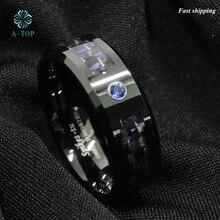 Черный и синий углеродного волокна вольфрама кольцо синий мужские украшения Обручальное Бесплатная доставка