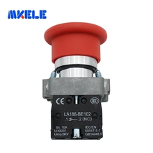 Red 40mm Emergency Stop Mushroom Push Button Switch Fits XB4-BS542 Spring Return 1N/C  Stainless Steel Made