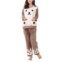 Autumn Winter Fashion Women Warm Sleepwears Flannel Pajama Set Sleepwear Lovely Bear Long Sleeve Top Pants