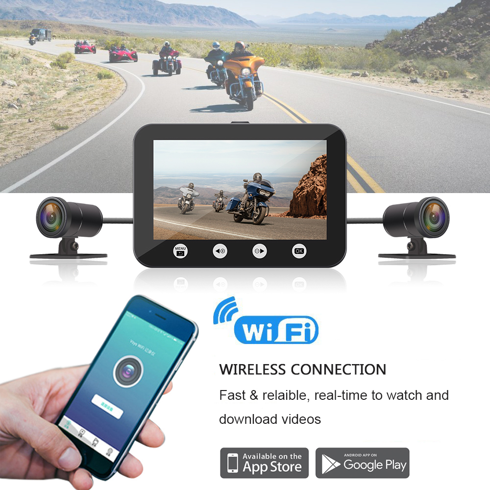 Image 4 - SYS VSYS P4.5 WiFi Motorcycle Dash Cam 1080P Dual Lens Front & Rear 4.5'' LCD Waterproof Motorcycle Camera Recorder DVR System-in DVR/Dash Camera from Automobiles & Motorcycles