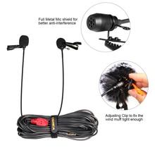 Comica CVM-D02 двойной-глава клип на петличный микрофон всенаправленный конденсаторный Запись Mic 2.5 м/4.5 м/ 6 м для GoPro смартфон