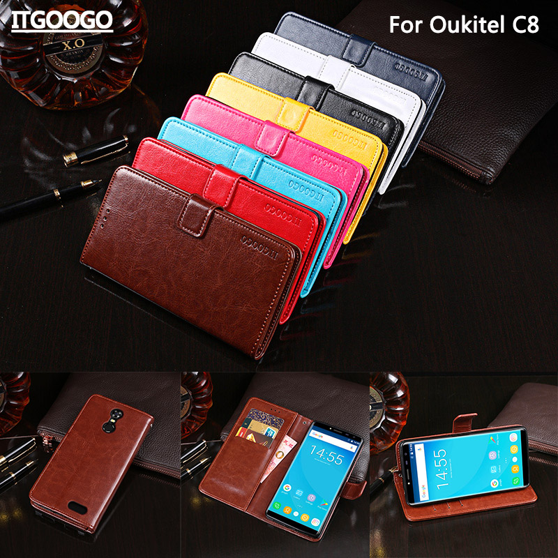 Itgoogo For Oukitel C8 Case High Quality PU Leather Protective Cover For Oukitel C8 Wallet Case With Card slot