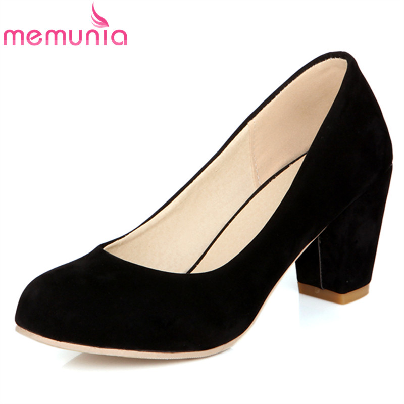 MEMUNIA 2018 new arrive women pumps fashion PU nubuck leather round toe shallow spring autumn high heels single shoes